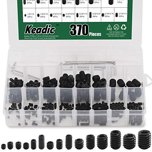 Glarks 370Pcs 15 Size 3//8x1//2-1//8x1//8 Internal Hex Allen Head Socket Set Screw 12.9 Class Black Alloy Steel Hex Grub Screws Assortment Kit with 6Pcs Hex Wrenches
