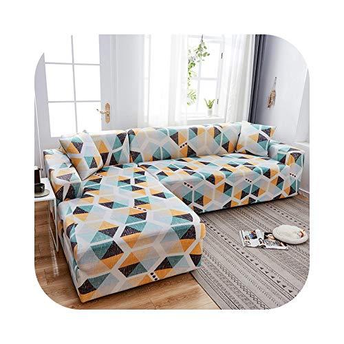 Friendshiy - Funda de sofá de esquina extensible, funda de sofá para salón elástica, toalla en forma de L, para tumbona, 2 piezas, color 20-2seater y 3 seater