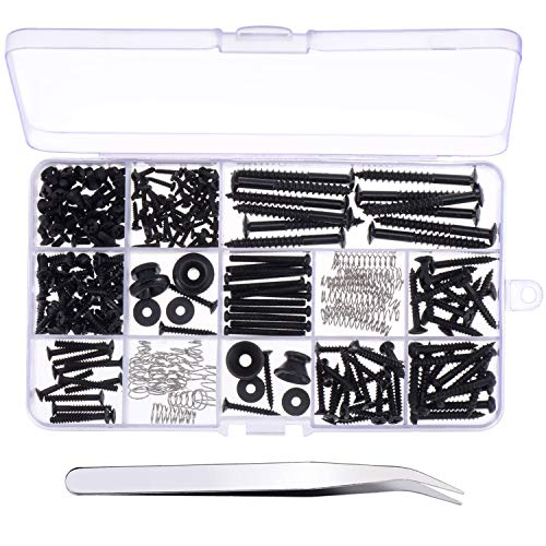 Canomo 254 Pieces Electric Guitar Screw Kit (9 Types) with Springs for Electric Guitar Bridge, Pickup, Pickguard, Tuner, Switch, Neck Plate, Guitar Strap Buttons and A Elbow tweezers, Black