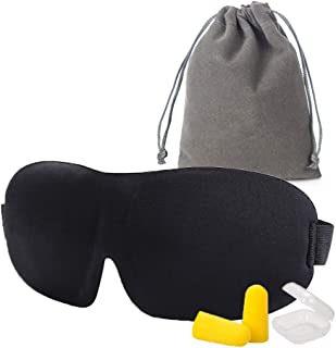 Eye mask for Sleeping, Block Out Light Breathable Sleep Eye Mask Gift Set Adjustable Strap Eye Mask for Travel Nap, Meditation, Shift Work with Carry Pouch, Eye Mask and Ear Plugs (Black)