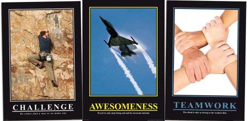 Motivational Büro Set 1 - Teamwork, Challenge, Awesomeness Barney Stinson Poster - Grösse je 61x91,5