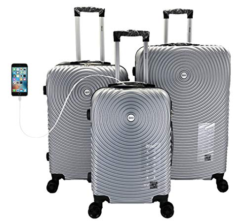 Mirage Target ABS Luggage Sets Hardside 360 Spinner Lightweight Durable Spinner Suitcase 20' 24' 28', with Combination Lock and USB Port 3PCS Set (Silver)