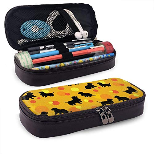 Black Dogs Silhouettes Puppy Leather 3D Nano Printed Pencil Case Pouch Zippered Cute Pen Pencil Case Box School Supply for Students,Big Capacity Stationery Box for Girls Boys and Adults