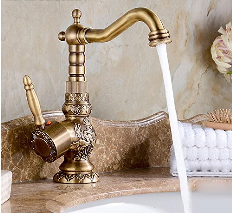 WKZDS.KK Waschtischmischer Messing Heie Und Kalte Single Rod Bronze Beendet Blaumentopf Wasserhahn Im Waschbecken Wasserhahn Geschnitzt