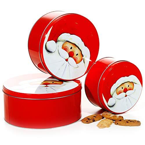Preis am Stiel 3er Set Gebäckdose ''Santa''   Keksdose   Weihnachten   Vorratsdose   Adventszeit   X-Mas   Geschenkidee   Plätzchendose   Weihnachtsdeko   Haushaltsdose   Weihnachtsmann   Nikolaus