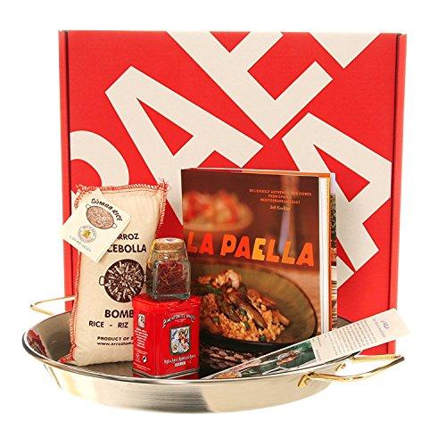 La Paella Kit Box Gift Set with 14-Inch Stainless Steel Pan, Medium, Silver