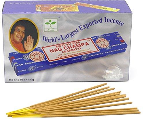 Nag Champa Räucherstäbchen, Weihrauch, 15 g – Original aus Indien, 12 boites