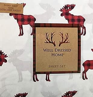Well Dressed Home Buffalo Plaid Moose Sheet Set - Full Size Microfiber