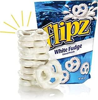 Flipz WHITE FUDGE Covered Pretzels - 6 Bags of 5 oz