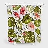 Summor Rideau de douche résistant à la moisissure, motif floral, rideau de bain, rideau de bain, tissu polyester imperméable, décoration de salle de bain avec 12 crochets – 72 x 78 cm