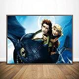 HRUIO Pintura Cómo Entrenar a tu dragón Pintura en lienzodecoración del hogarartísticos para interiores-40 * 50cm