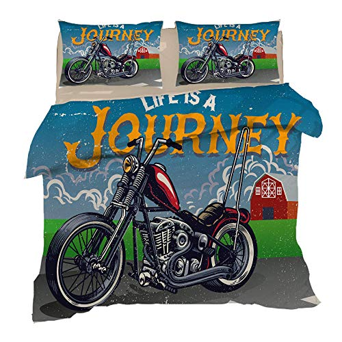 Bbaodan Duvet Cover Double Bed Cartoon Motorcycle Textured Microfibre Duvet Cover And Pillowcase With Zipper Closure Easy Care Machine Washable / 78.7 X 78.7 Inch