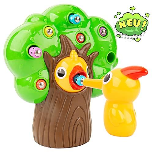 Inpher Montessori Spielzeug, Lernspielzeug, Motorikspielzeug, Specht Raupen Fangen Spiel Magnetisches Kinderspiel Holzstumpf Füttern, für Kinder Jungen und Mädchen 2 3 4 Jahre Alt Geschenke