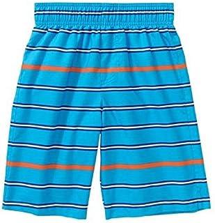 Op Boys Cyan Blue Stripe Swim Shorts Trunks (X-Small 4-5) [並行輸入品]