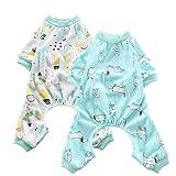 Oncpcare Paquete de 2 pijamas (perro+oasis) para perros, ropa de dormir de algodón suave para perros, ropa de dormir para perros, cachorros y gatos