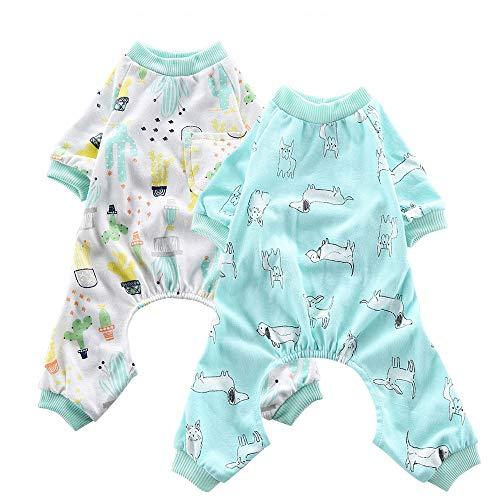 Oncpcare 2 Pack (Dog+Oasis) Hunde-Pyjama aus weicher Baumwolle für Hunde, Welpen und Katzen