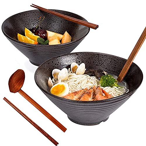 Ciotola Ramen, 2 Set (6 Pezzi) Ciotola Grande Zuppa Ramen Ciotola, Cucchiaio e Bacchette Abbinati, Giapponesi Retrò ceramica Ciotola, per Riso/Insalata/Minestra/Cereali/Assortiti