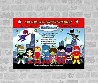 Superheroes Invitation, Super Hero Birthday Party Invitation, Spider Man, Batman, Superman Invite