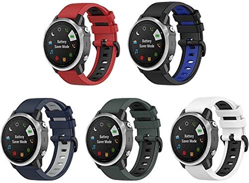 Gransho Correa de Reloj Compatible con Garmin Fenix 6S Pro/Fenix 6S / Fenix 5S/5S Plus (42MM), Silicona Banda de Reemplazo Pulsera (5-Pack J)