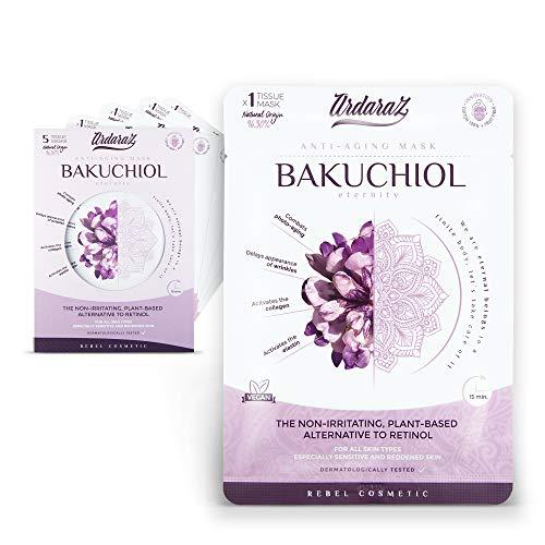 Ardaraz - Mascarilla Facial Hidratante Antiedad impregnada en Serum concentrado de Bakuchiol - Antioxidante y Rejuvenecedora - Mascarillas faciales Pack de 5