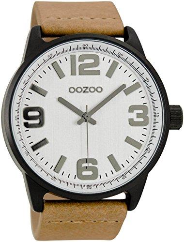 Oozoo Herrenuhr mit Lederband 48 MM Silber/Sand C7090