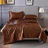 Surwin Bequem und Weich Tagesdecke Bettüberwurf aus Emulation Seide Luxuriös Gesteppt Einfarbig Bettdecke Sommer Dünne Steppdecke für Doppelbett Einzelbett (Braun,200x230cm)