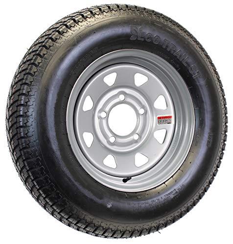 Radial Trailer Tire On Silver Rim ST205/75R14 Load C 5 Lug On 4.5 Spoke Wheel