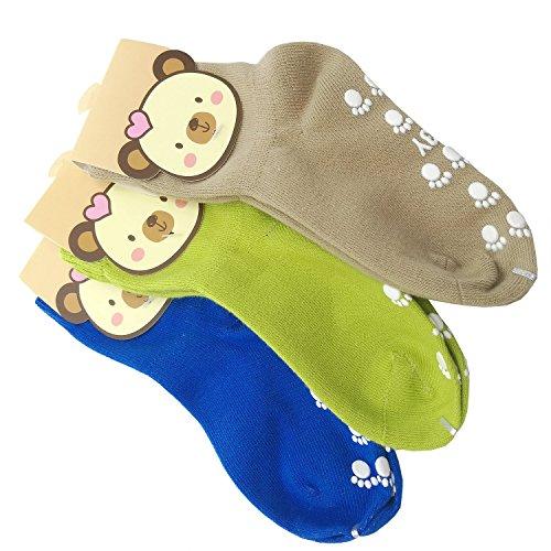 TUKA [3 Pares] Calcetines Antideslizantes Unisex para bebés 1 a 3 años, ABS Calcetines para niños niñas, no-de la resbalón de agarre, calcetines de pie. Azul, Verde, Marrón, TKB7000-bluegreenbrown