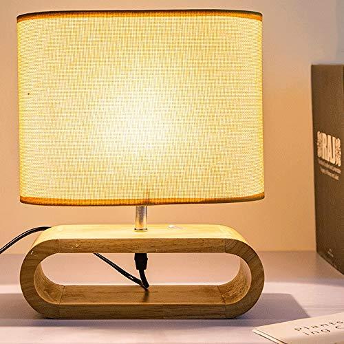 Mopoq Lámpara de Mesa Oval de Madera Diseño Base con Ropa de Pantalla, nórdico Moderno diseño Minimalista lámpara de Mesa for Sala de Estar, Dormitorio, Apartamento