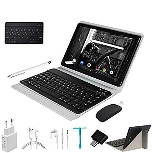 Tablet 10.1 Pulgadas 4G Android 9.0 Ultrar-Rápido Tablets 4GB RAM 64GB ROM/128GB Escalables 8000mAh Quad Core Dual SIM/5.0 +8.0 MP Cámara Tablet PC Bluetooth Netfilx con Teclado y Mouse (Negro)