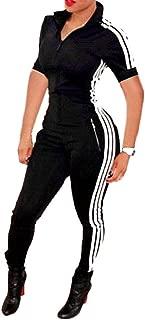 Womens Zip Up One Piece Bodycon Sport Striped Tracksuit Jumpsuit Sweatsuit