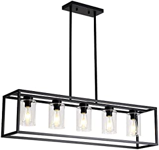 XILICON Dining Room Lighting Fixture Hanging Farmhouse Black 5 Light Modern Pendant Lighting Contemporary Chandeliers with Glass Shade for Living Dining Room Bedroom Kitchen Island