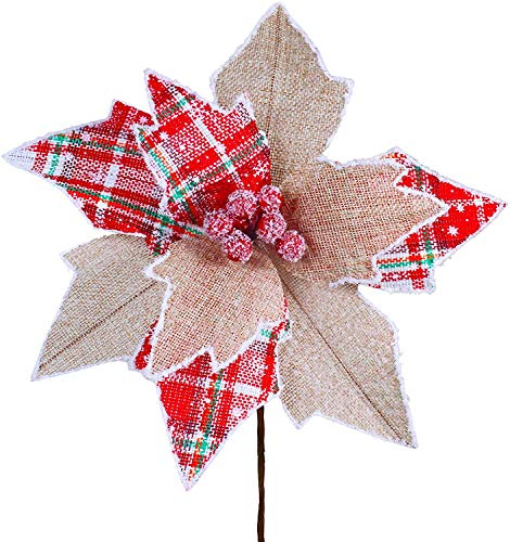 6 Pcs Christmas Tartan Plaid and Burlap Poinsettia with Red Berries Flower Picks Christmas Tree Ornaments 9.8' Wide for Rustic Christmas Tree Wreaths Garlands Winter Wedding Decoration