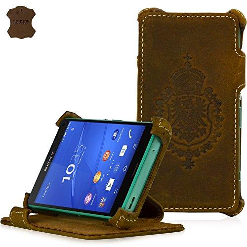 Manna Ultraslim Compact Handyhülle, kompatibel mit Sony Xperia Z3, Hülle Cover für Smartphones, Easy-Stand, Nubukleder Braun
