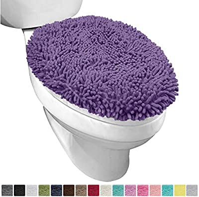 Gorilla Grip Original Shag Chenille Bathroom Toilet Lid Cover, 19.5 x 18.5 Inches, Large Size, Machine Washable, Ultra Soft Plush Fabric Covers, Fits Most Size Toilet Lids for Bathroom, Purple