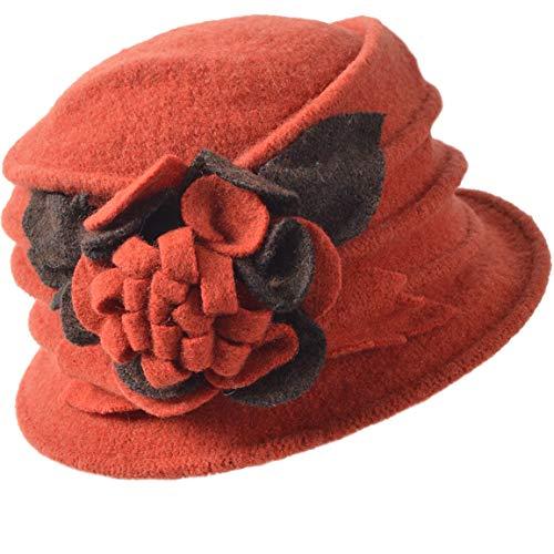 FORBUSITE Vintage Damen Wollkleid Glocke Wintermütze 1920er Jahre - Orange - Medium