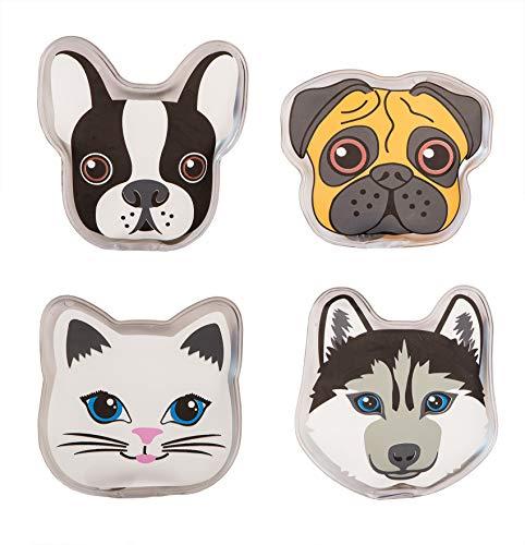 BigDean 4X Taschenwärmer in 4 Hund & Katze-Motiv - Handwärmer wiederverwendbar - Für Kinder - Wärmepads zum Knicken - 60 Minuten Wärme - Wichtelgeschenke, Adventskalender-Geschenk
