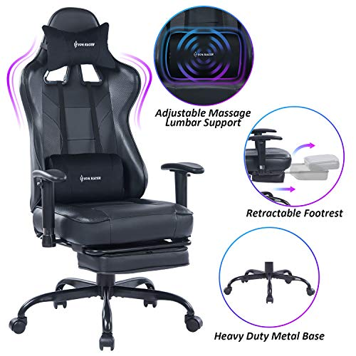 VON RACER Massage Gaming Chair - High Back Racing PC Computer Desk Office Chair Swivel Ergonomic Executive Leather Chair with Footrest and Adjustable Armrests, Black
