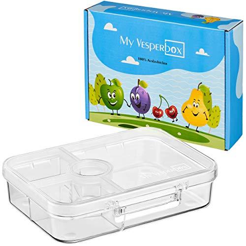 My Vesperbox – Bento Box Kinder - Lunchbox mit 4+2 Fächern - extrem robust und auslaufsicher – Brotdose – Brotbox ideal für Kindergarten und Schule (Transparent)