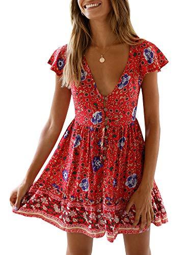 Gamisote Damenkleid, sexy, tiefer V-Ausschnitt, aufgedrucktes Blumenmuster, Rüschen, kurzärmelig, kurzes Minikleid für den Sommer, rot, Größe M