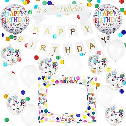 Happyhours Deko Geburtstag Frau Mädchen Weiß Bunt Latex Ballons Konfetti Tischdeko, Schärpe Happy Birthday Banner mit Geburtstag Aufblasbare Rahmen