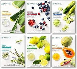 MIRABELLE COSMETICS KOREA Fairness Facial Mask (Aloe Vera, Berries, Cucumber, Herbs, Lemon, Papaya) -Combo Pack of 6