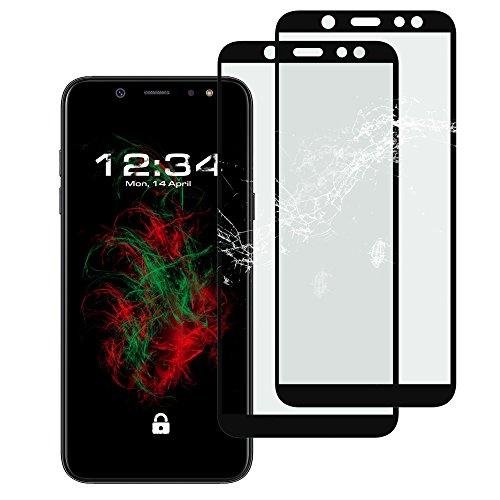 2X Panzerglas Clear Fullscreen Schwarz für Samsung Galaxy A6 Plus (2018) Klare Bildschirmschutzfolie 9H Echt Glas-Folie Glass Screen Protector Durchsichtige Schutzfolie (Glasfolie-FS-Schwarz-Klar 2X)