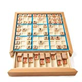 """Wooden Sudoku Game Chess Board Jiugongge Children s Educational Toys,8 3/4""""x 8 3/4""""x 1 1/3"""" Puzzle Book-Number Thinking Toys"""