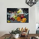 DASHBIG Cuadros decoración Lienzo Moderno, Arte de Pared, Carteles de Alimentos de Frutas, Pintura Impresa para Cocina, del hogar, de Pared de UVA de Manzana para Comedor   60x90 cm sin Marco