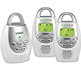 VTech DM221-2 Audio Baby Monitor with up to 1,000 ft of Range, Vibrating Sound-Alert, Talk Back Intercom, Night Light Loop & Two Parent Units, White