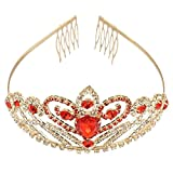 FRCOLOR Tiara Crown, Bridal Crystal Rhinestone Crown Queen Pageant Crowns Princess Crown Gold Red