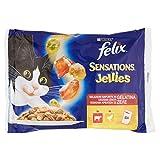 Felix Sensations Jellies Cibo per il Gatto, con Manzo in Gelatina e Pomodoro e con Pollo in Gelatina e Carote, 4 x 100 g - Confezione da 10 Pezzi