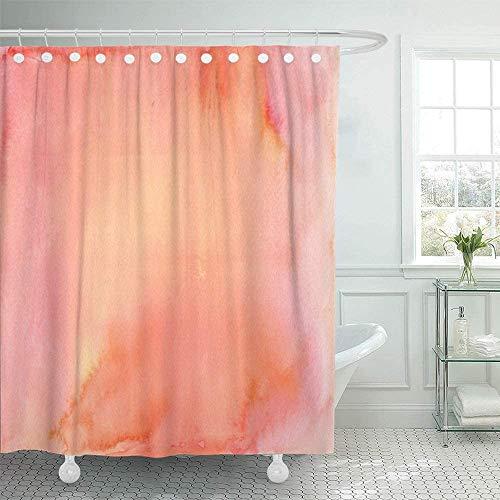 AIDEMEI Wasserdichtes Pfirsich-Aquarell In Den Farben Rosa Orange Und Gelb Duschvorhang Korallenfarbe Lachs Aprikosenset 180X180Cm