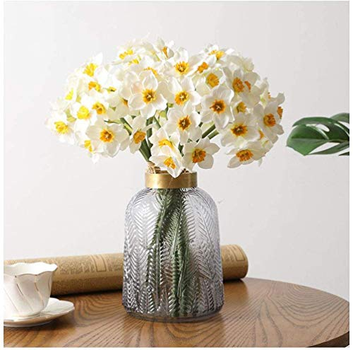 Decpro 12 flores artificiales de narciso, narciso de seda, ramos de flores falsos para casa, fiesta, oficina, jardín, interior, decoración de boda, arreglos florales, centros de mesa, color blanco